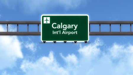 calgary: Calgary Canada Airport Highway Road Sign 3D Illustration