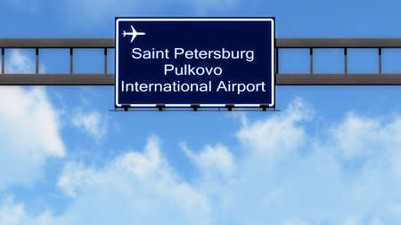 saint petersburg: Saint Petersburg Pulkovo Russia Airport Highway Road Sign 3D Illustration Stock Photo