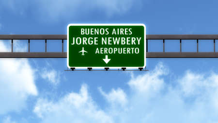 aires: Buenos Aires Newbery  Argentina Airport Highway Road Sign 3D Illustration