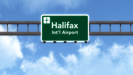 halifax: Halifax Canada Airport Highway Road Sign 3D Illustration Stock Photo