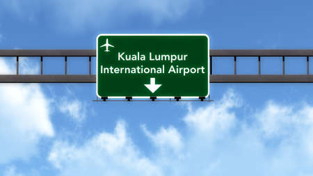 Kuala Lumpur Airport Highway Road Sign 3D Illustration