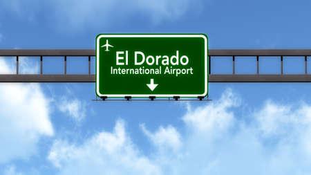 dorado: Bogota Colombia Airport Highway Road Sign 3D Illustration