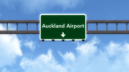Auckland New Zealand Airport Highway Road Sign 3D Illustration