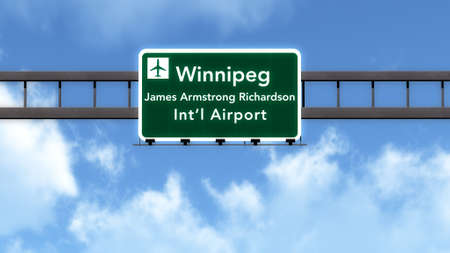 Winnipeg Canada Airport Highway Road Sign 3D Illustration