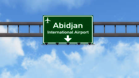 ivory: Abidjan Ivory Coast Airport Highway Road Sign 3D Illustration