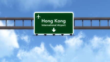 hong kong street: Hong Kong China Airport Highway Road Sign 3D Illustration Stock Photo