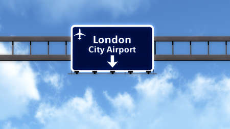 london england: London England United Kingdom Airport Highway Road Sign 3D Illustration Stock Photo