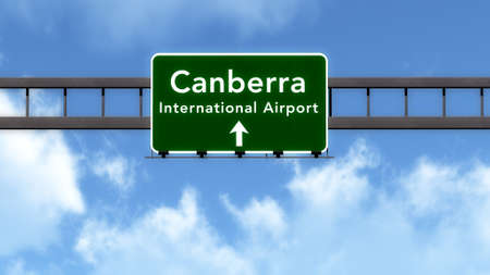 canberra: Canberra Australia Airport Highway Road Sign 3D Illustration Stock Photo