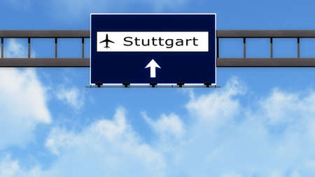 stuttgart: Stuttgart Germany Airport Highway Road Sign 3D Illustration