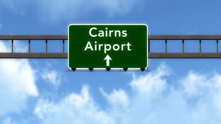 cairns: Cairns Australia Airport Highway Road Sign 3D Illustration