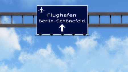 motorway: Berlin Schonefeld Germany Airport Highway Road Sign 3D Illustration