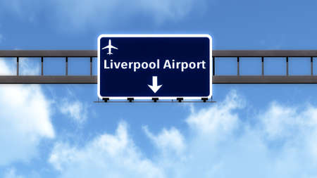 liverpool: Liverpool England United Kingdom Airport Highway Road Sign 3D Illustration