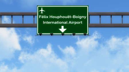 Abidjan Ivory Coast Airport Highway Road Sign 3D Illustration