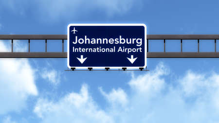 Johannesburg South Africa Airport Highway Road Sign 3D Illustration