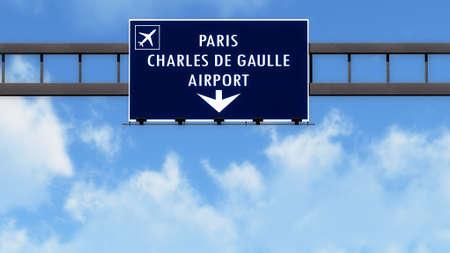 gaulle: Paris Roissy De Gaulle France Airport Highway Road Sign 3D Illustration Stock Photo