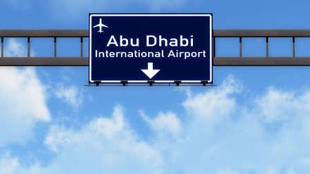 abu dhabi: Abu Dhabi UAE Airport Highway Road Sign 3D Illustration