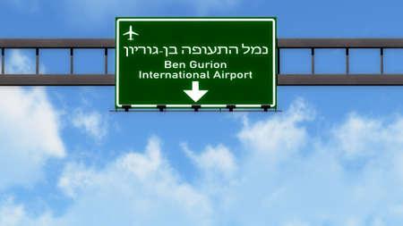 Tel Aviv Ben Gurion Israel Airport Highway Road Sign 3D Illustration Banque d'images
