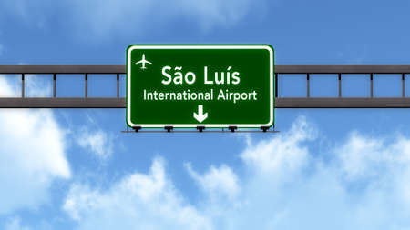 luis: Sao Luis Brazil Airport Highway Road Sign 3D Illustration