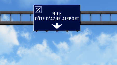nice france: Nice France Airport Highway Road Sign 3D Illustration Stock Photo
