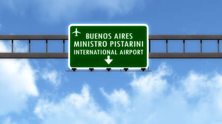 aires: Buenos Aires Argentina Airport Highway Road Sign 3D Illustration