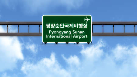 pyongyang: Pyongyang Sunan North Korea Airport Highway Road Sign 3D Illustration