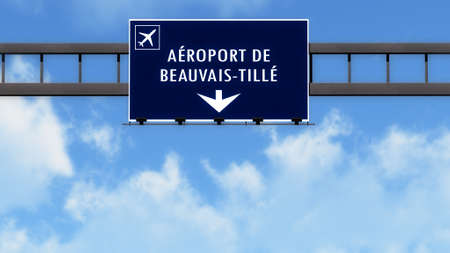 french board: Beauvis France Airport Highway Road Sign 3D Illustration
