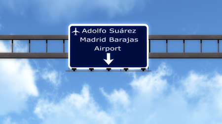 barajas: Madrid Barajas Spain Airport Highway Road Sign 3D Illustration Stock Photo