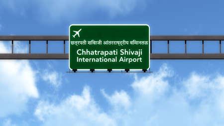 mumbai: Mumbai India Airport Highway Road Sign 3D Illustration