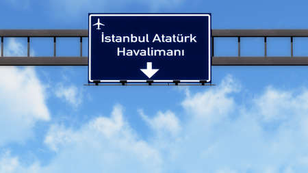 ataturk: Istanbul Ataturk Turkey Airport Highway Road Sign 3D Illustration