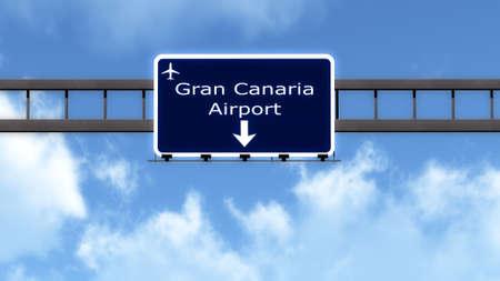 gran: Gran Canaria Spain Airport Highway Road Sign 3D Illustration