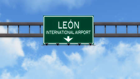leon: Leon Mexico Airport Highway Road Sign 3D Illustration