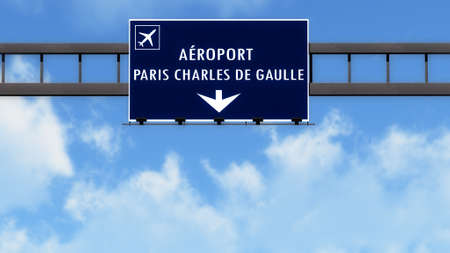 french board: Paris Roissy De Gaulle France Airport Highway Road Sign 3D Illustration Stock Photo