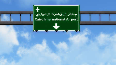 cairo: Cairo Egypt Airport Highway Road Sign 3D Illustration