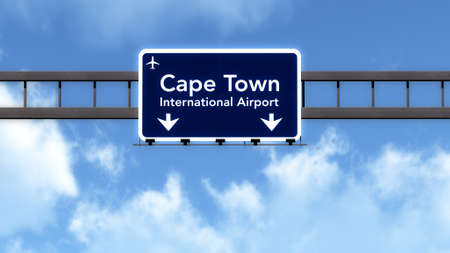 Cape Town South Africa Airport Highway Road Sign 3D Illustration
