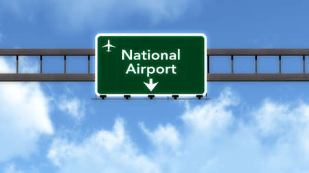 motorway: National Airport Highway Road Sign 3D Illustration Stock Photo