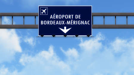 the french way: Bordeaux France Airport Highway Road Sign 3D Illustration