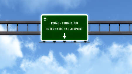 vinci: Rome Fiumicino Leonardo Da Vinci Italy Airport Highway Road Sign 3D Illustration