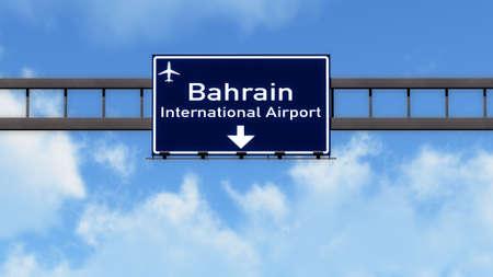 bahrain: Bahrain Airport Highway Road Sign 3D Illustration Stock Photo
