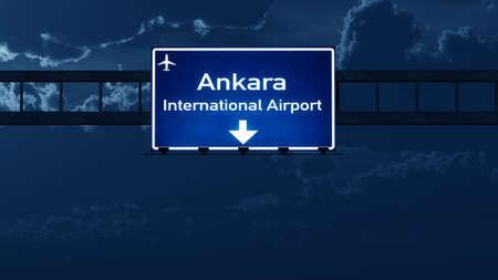 nightfall: Ankara Turkey Airport Highway Road Sign at Night 3D Illustration