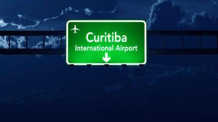 road night: Curitiba Brazil Airport Highway Road Sign 3D Illustration at Night