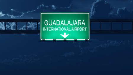 guadalajara: Guadalajara Mexico Airport Highway Road Sign at Night 3D Illustration