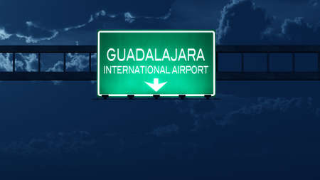 road night: Guadalajara Mexico Airport Highway Road Sign at Night 3D Illustration