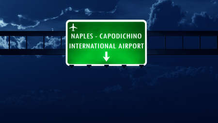 nightfall: Napoli Italy Airport Highway Road Sign at Night 3D Illustration Stock Photo