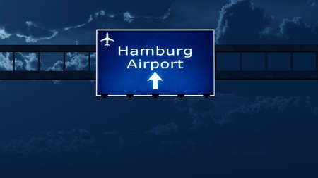 gloom: Hamburg Germany Airport Highway Road Sign at Night 3D Illustration