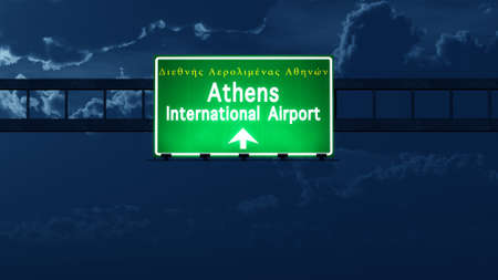 nightfall: Athens Greece Airport Highway Road Sign at Night 3D Illustration Stock Photo