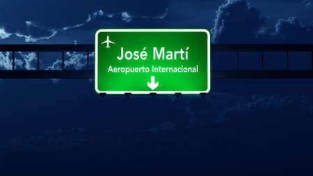 havana cuba: Havana Cuba Airport Highway Road Sign at Night 3D Illustration