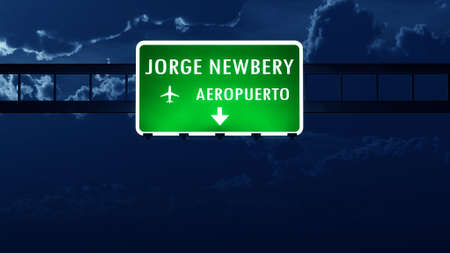 highway at night: Buenos Aires Newbery Argentina Airport Highway Road Sign at Night 3D Illustration