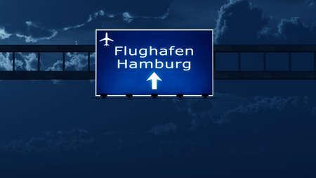 hamburg: Hamburg Germany Airport Highway Road Sign at Night 3D Illustration