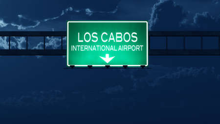 los cabos: Los Cabos Mexico Airport Highway Road Sign at Night 3D Illustration Stock Photo
