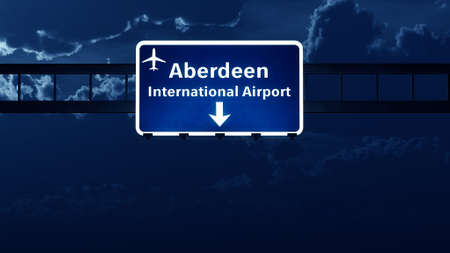 scotish: Aberdeen Scotland UK Airport Highway Road Sign at Night 3D Illustration